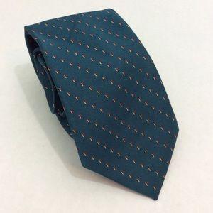 Vintage Jordache Teal Red Tan Specks Tie Poly Silk